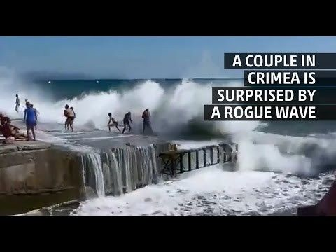 (adsbygoogle = window.adsbygoogle || []).push();       (adsbygoogle = window.adsbygoogle || []).push();   A rogue wave knocks several off of their feet in Crimea and a couple into a canal pulling them under a structure, all the onlookers can do is hope they get out alive. See... #Weather #videos