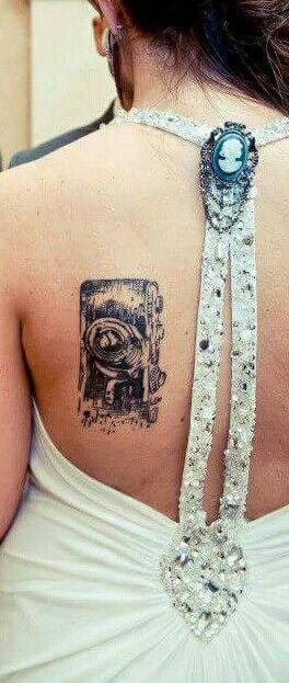 My vintage film camera tattoo art. Pen and ink style. yep. I'm THAT photographer.  lol.   Tattoo credit: Nina, Laughing Buddha, Seattle.