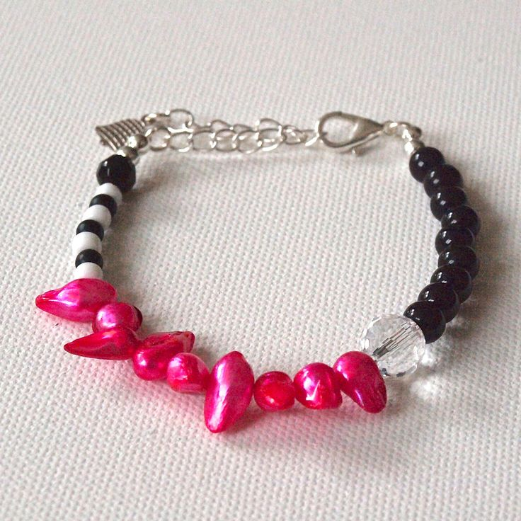 Finished Bracelet - Pink Pearls, Black and White Glass