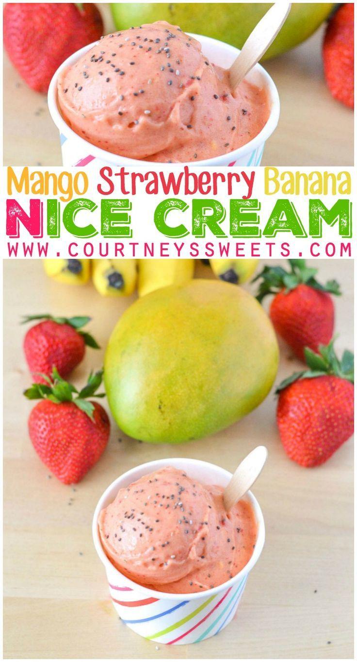 Mango Strawberry Banana Ice Cream Recipe Vegan, Healthy, Natural, Fresh and Delicious!