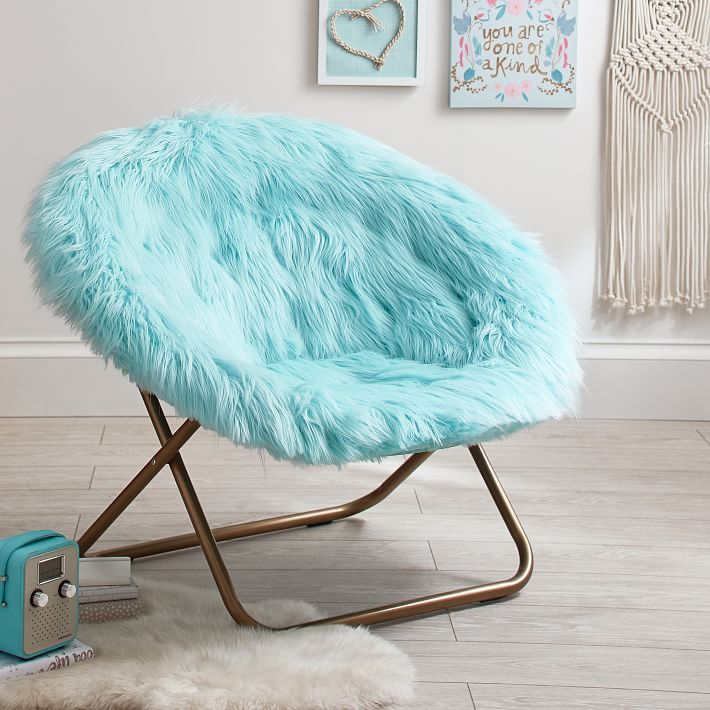 Himalayan Faux Fur Hang A Round Chair True Blues