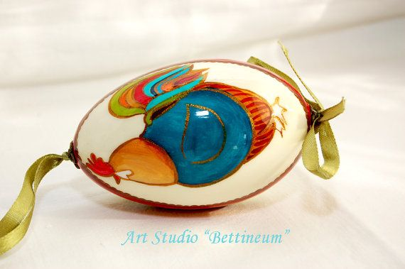 Pysanka  with  Mr. Rooster Polish easter eggshand by Bettineum, $25.00