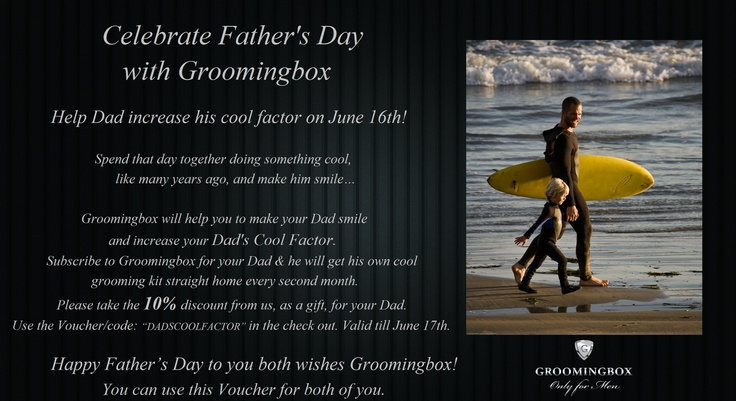 Help Dad increase his cool factor!   Today Groomingbox celebrates the International Father's Day. We wish all Dads a Happy Father's Day!   Join the celebration with us: share this news with your Friends and help all Dads to increase their cool factor together with Groomingbox. #fathersday #agiftforfather #giftfordad #idealgiftforfather #groomingbox #mensgrooming #lastminutegift #mensgift #grooming #thegreatgatsby #fordad
