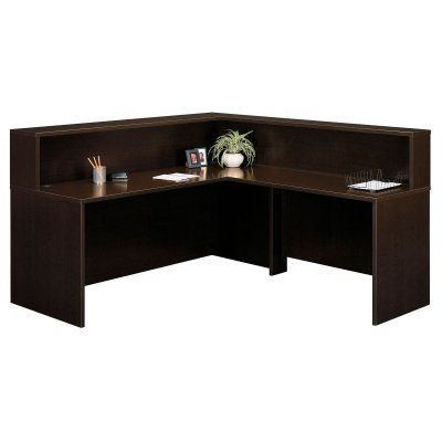 Bush Series C Reception Desk And Hutch In Mocha Cherry By Industries Inc 643 98