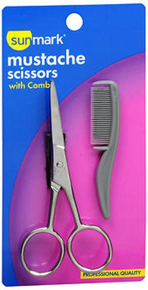 Sunmark Mustache Scissors with Comb - 1 set * This is an Amazon Affiliate link. Click image to review more details.