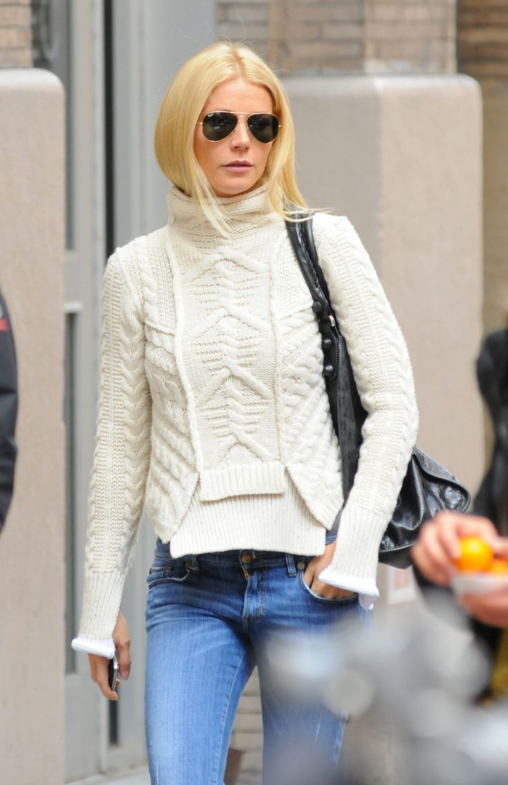 Gwyneth in the most amazing Celine sweater. #fishermansweater #celine #cableknitsweater