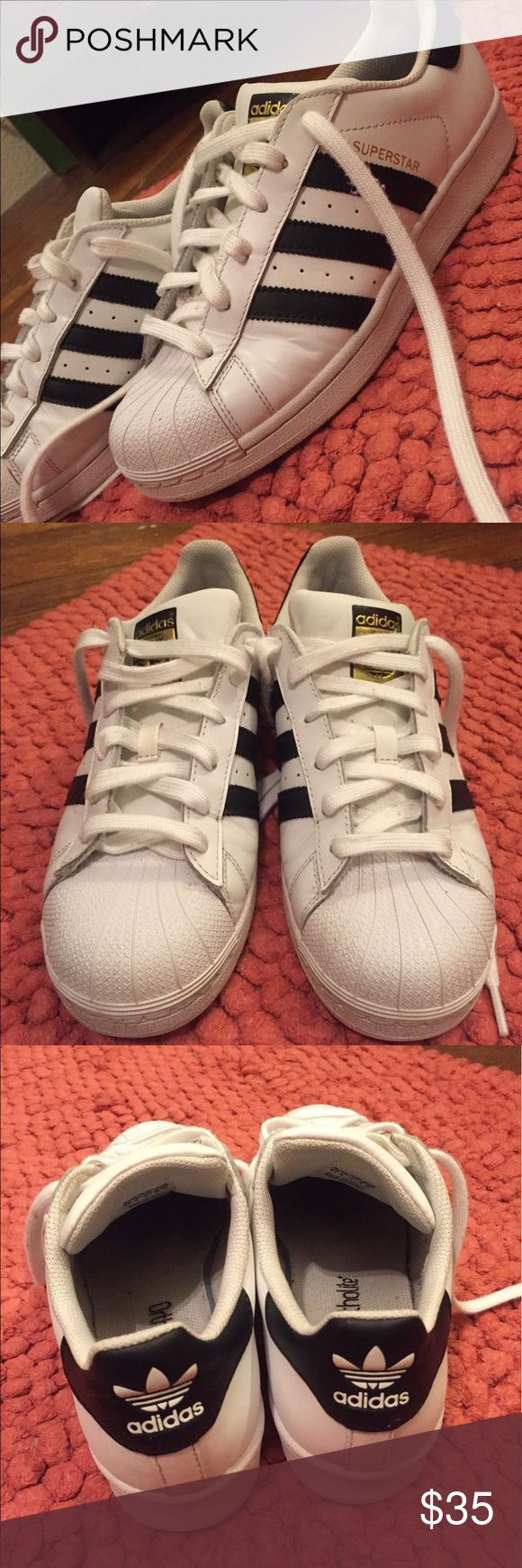 Adidas Superstars Women's size 8 (bought in boy's size 6 1/2) adidas Shoes Sneakers