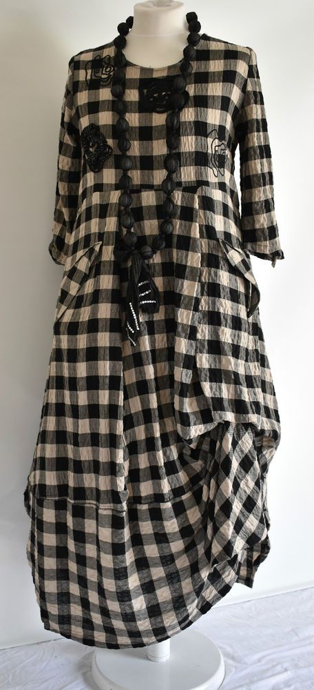 FAB GERMAN ZEDD.PLUS quirky/lagenlook BLACK/BEIGE  parachute dress XXL/XXXL #ZEDDPLUS #dress