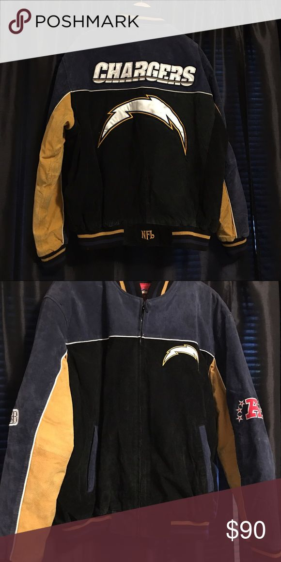 Authentic NFL chargers suede jacket NFL San Diego Chargers Men's leather suede jacket Excellent condition. Worn only twice Colors are black gold and blue 🚫 No tears No holes From Smoke free home NFL Jackets & Coats Bomber & Varsity