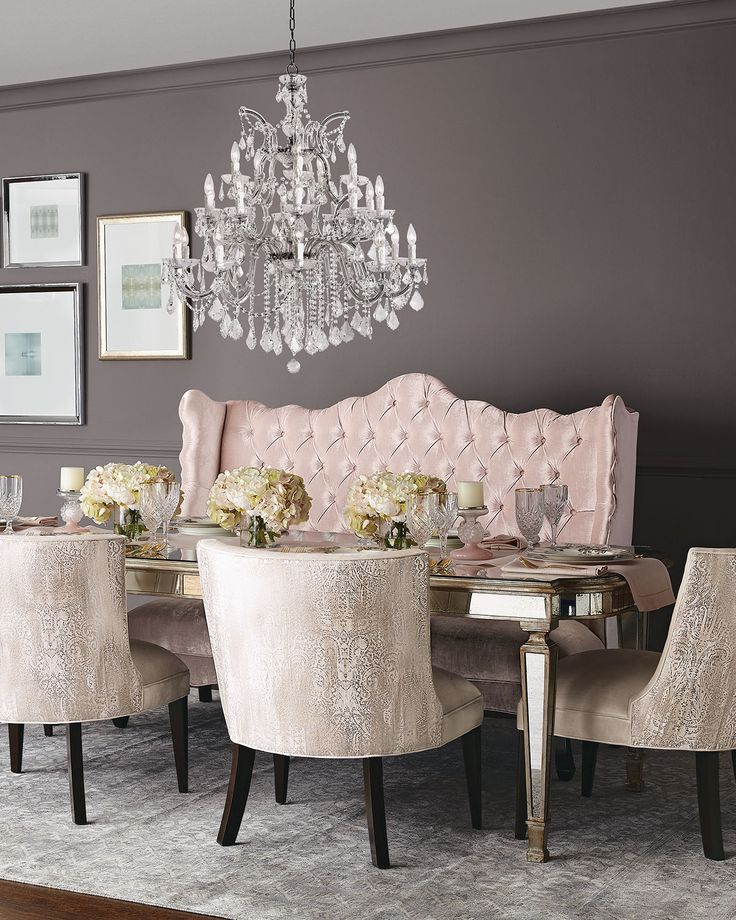 soft blush and neutral tones against gray backdrop wall - Dining Room Table With Bench Against Wall