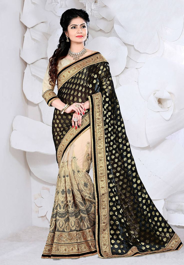 Black and Beige Faux Georgette and Net Saree with Blouse: SAS942