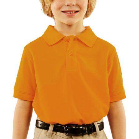 George Boys School Uniforms Short Sleeve Pique Polo Shirt, Size: XXL (18), Gold