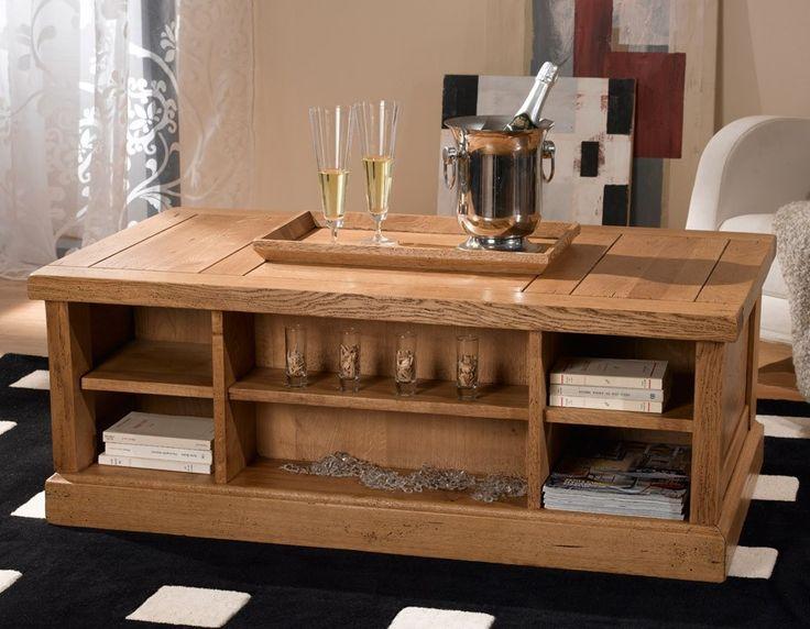 Table basse rustique avec coffre bar
