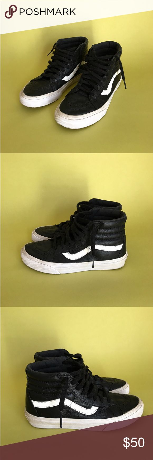 Vans women's leather sk8-hi shoes black Black leather hi top tennis shoes by Vans with waffle pattern sole. Size 7 women's. Vans Shoes Sneakers