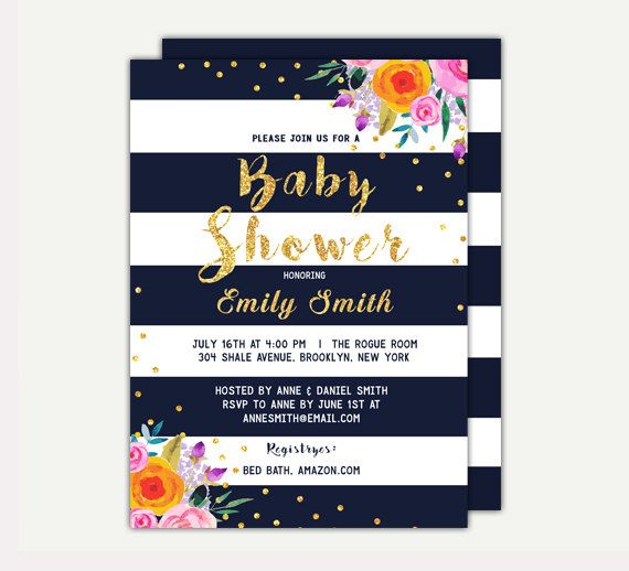 Floral Baby Shower invitation Dark and Gold by TheCutePaperStudio Baby Shower Invitations For Girls