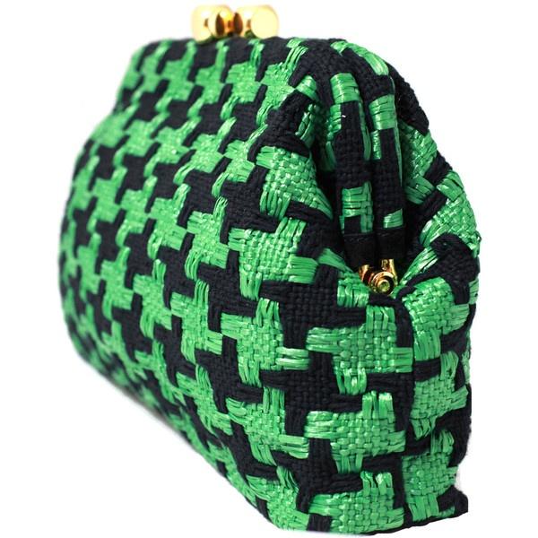 Maria La Rosa Rafia Green and Black Woven Bag ($435) found on Polyvore