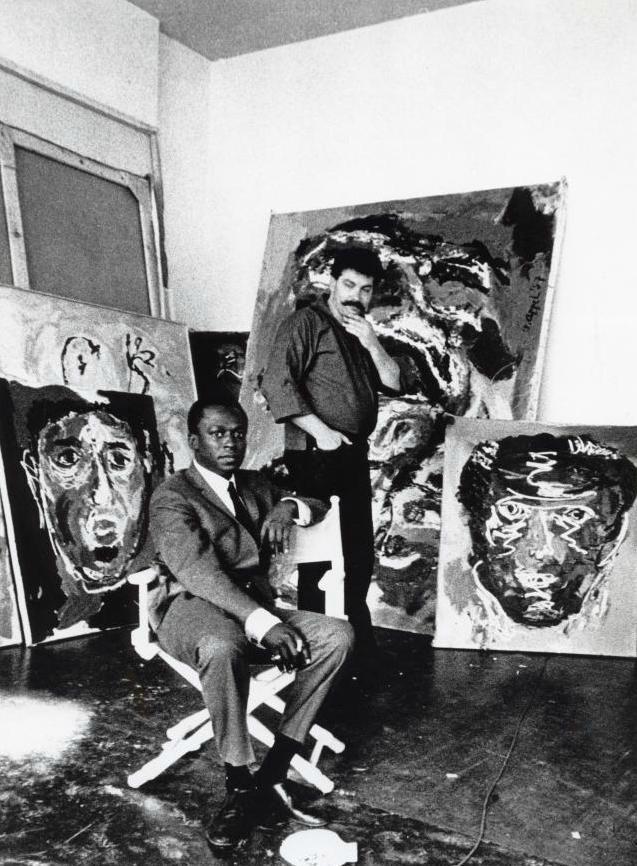 Dutch painter Karel Appel in his studio, with Miles Davis.