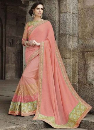 Peach Embroidery Work Net Fancy Wedding Half Sarees Red Embroidery Sequin Work Georgette Silk Wedding Sarees