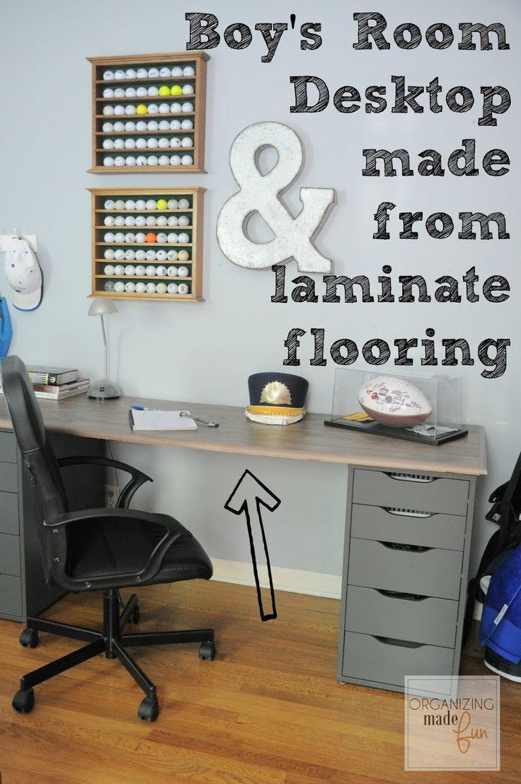 Boy's Room Desktop made from laminate flooring:: OrganizingMadeFun.com