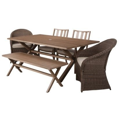 Threshold™ Holden 6 Piece Metal/Wicker Rectangular Patio Dining Furniture  Set
