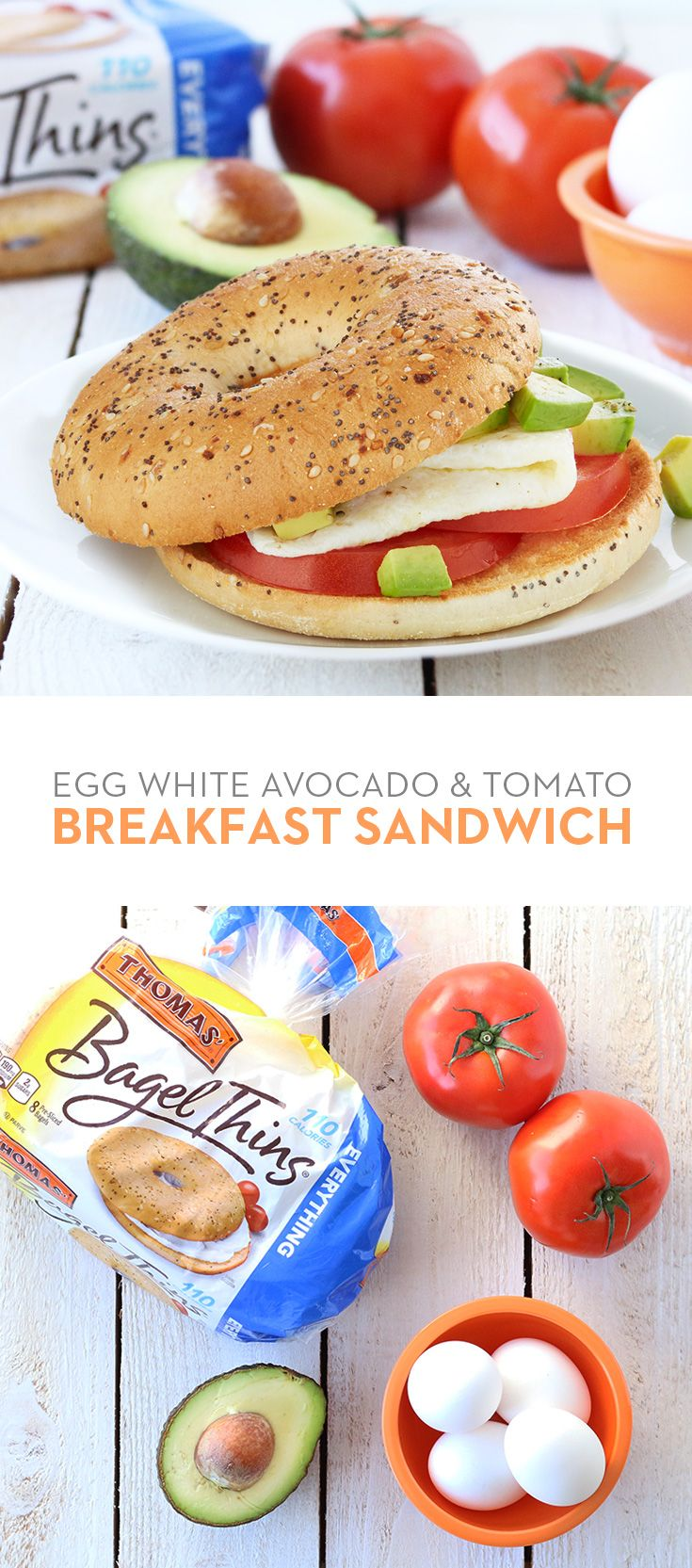 Update an old classic creation with Thomas' Everything Bagel Thins bagels. Simply cook up an egg white, top with tomato and avocado, and presto you've got a delicious and nutritious breakfast to go.