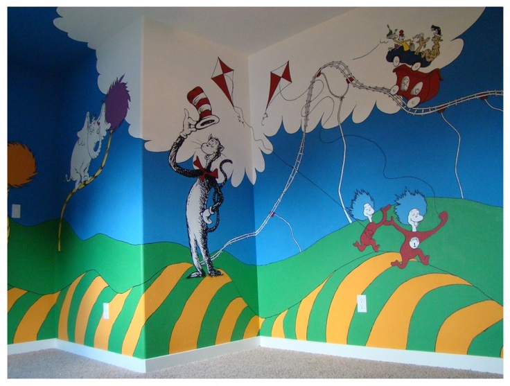 99 best images about dr seuss themed ideas on pinterest for Cat in the hat bedroom ideas