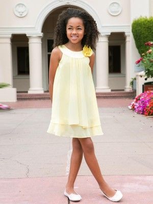 Canary Yellow Satin Bib Neckline Girl Dress - Flower Girl Dresses - GIRLS