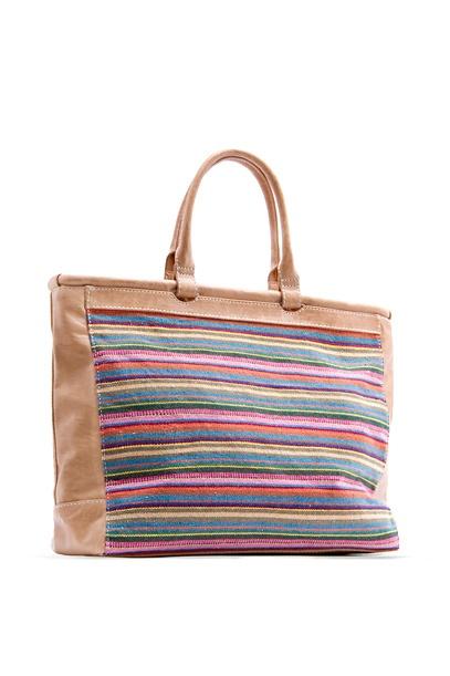 MANGO - BAGS - Multicolor striped shopper handbag