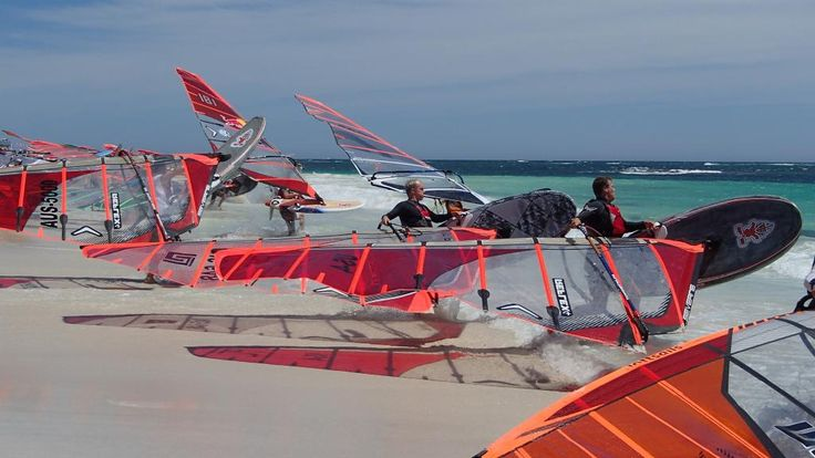 Fortunately it's not always this busy! Lancelin racing c/o Lexie Simpson #windsurfing #travel @ ActionTripGuru