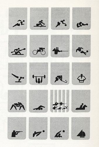 Sign System for the Tokyo Olympics, 1964. Symbols identifying various sports, designed by K. Sugiura, I. Owastu, I. Tomaka, & M. Katsumi.