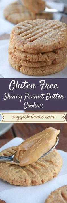 Gluten Free Skinny Peanut Butter Cookies. Only 4-ingredients needed. // Gluten free dessert idea.