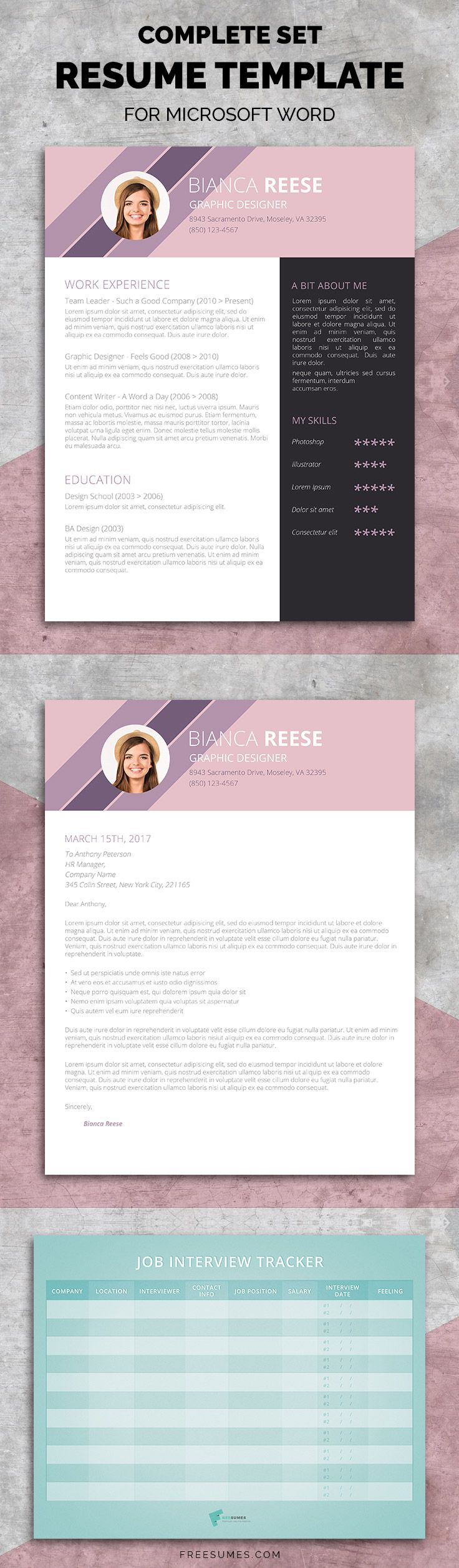 Resume Template Set for Microsoft Word - Dressed To Impress! The Ingenious Original Premium Resume Package #resume #package #Word