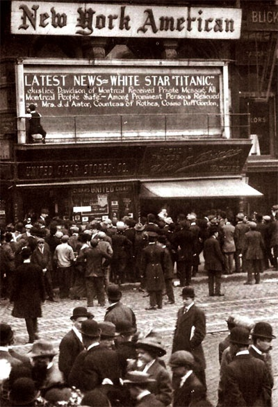 Titanic news coming in at the New York American - from http://archiveamericana.com/media/newspapers/1492-go-down-to-their-death-in-loss-of-titanic-1912