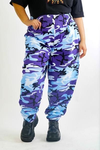 Current Camo Blue Army Sporty Sweat Pants - L/XL/2X    #curvy #plussize #fashion #windbreaker #90s #alternativecurves #plussizemodel #unicorn #unicorntears #camo #camo #pants #style