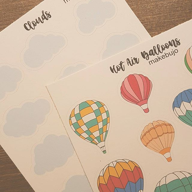 """This is my theme for september in my bullet journal! I was thinking about maybe making a """"all you need for a month in your bullet journal"""" at my Etsy shop with these and all my other planner stickers in one package   .  .  .  #theme #bulletjournal #bulletjournalnorge #bulletjournalcollection #bulletjournalcomunity   #bujo #bujocommunity #bujojunkies #journal #journaladdict #journaling #monthlytheme #stickers #clouds # hotairballoons #horairballoon #airballoon #airballoons"""