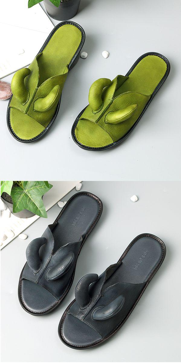 US$45.55 SOCOFY Retro Open Toe Genuine Leather Slip Slippers