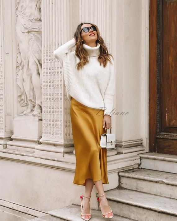 Silk skirt midi long fall look yellow a-line skirt outfit Silk slip bias saffron wear street style looks Silk fall trends long women skirt 1