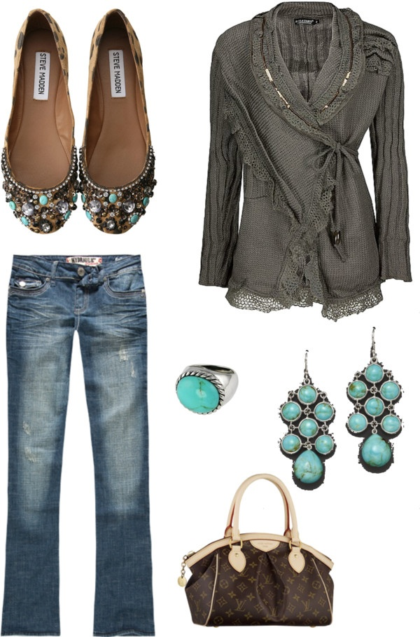 """""""Grey and Turquoise"""" by lyricallibra21 on Polyvore"""