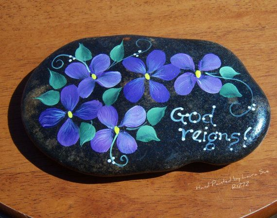 Hand painted Idaho River Rock Paper Weight Purple Violets-Inspirational-Bible-God Reigns via Etsy