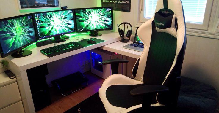 Green Black And White Triple Monitor Setup Gaming