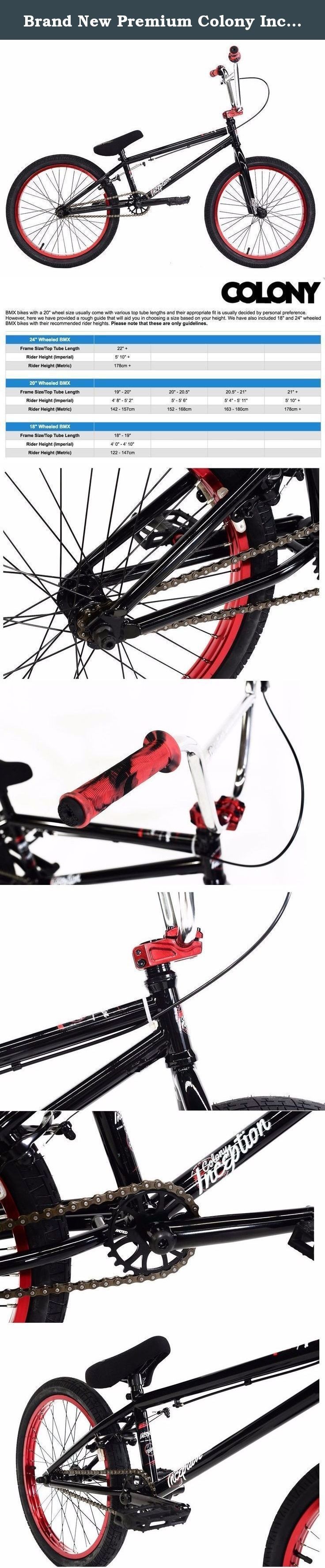 """Brand New Premium Colony Inception 20"""" BMX Bike 2016 Black Red Chrome. Colony Inception BMX Bike The Inception bike from Colony is set up for the smaller rider. The 19.8"""" top tube and the 13.25"""" rear end make it a great bike for those just a little too big for an 18"""" bike but not quite ready for the average 20"""" BMX bike. A full CroMo frame mixed in with fully sealed bearing on the hubs, headset and bottom bracket make this a kick ass bike. Specification: Stem: Colony forged alloy top load..."""