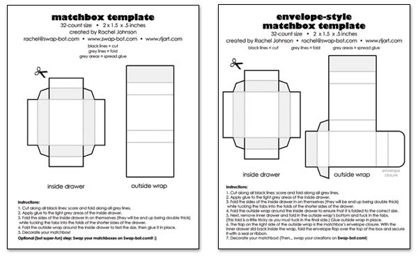 This is a matchbox template I used to create my package. The envelope version seemed too frustrating for a consumer to open when they think that the drawer should just slide out.