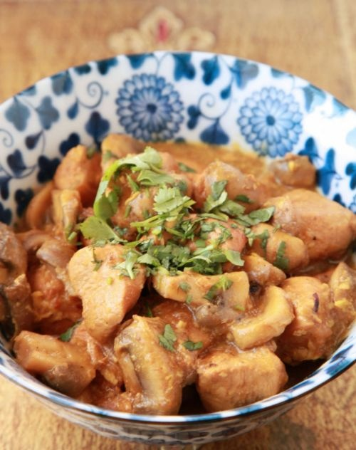 Chicken and Mushroom Khoresh - from Najmeh Batmanglij's awesome Persian cookbook New Food of Life