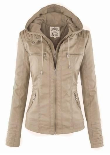 Women Chic PU Leather Jacket brown / M