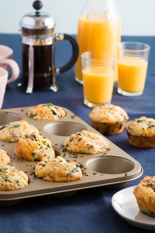 Loaded Breakfast Muffins Recipe. Need recipes and ideas for make ahead or make ahead breakfasts for the week? This savory muffin is almost like a mini individual crustless quiche. You'll need sausage (pork, ground beef, or turkey/chicken), spinach, buttermilk, apples, cheddar cheese, eggs, and chives.
