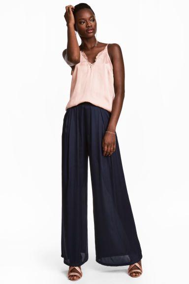 Pantalon ample en satin - Bleu foncé - FEMME | H&M CA 1