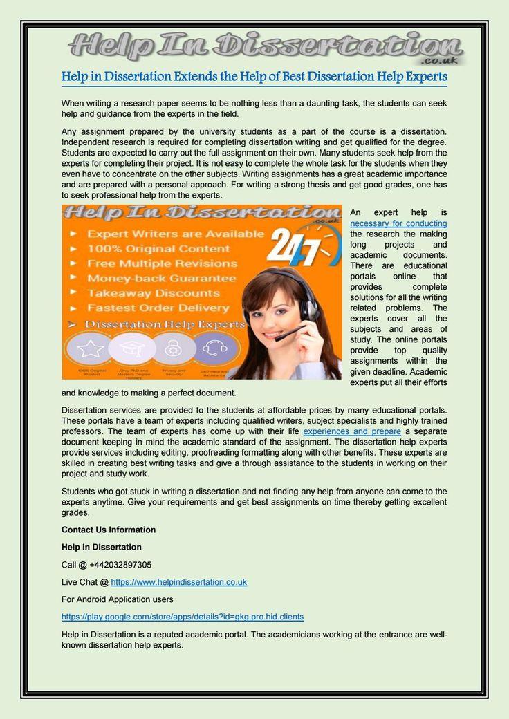 Help in dissertation extends the help of best dissertation help experts