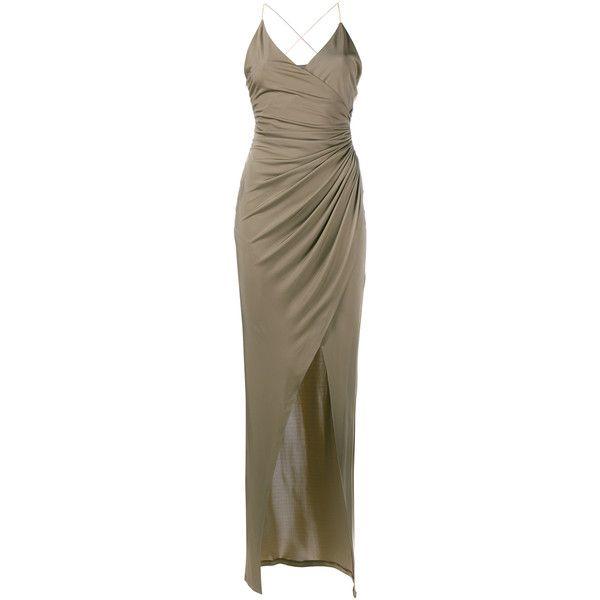 Balmain V-Neck Spaghetti Strap Dress (5,400 PEN) ❤ liked on Polyvore featuring dresses, balmain dress, front slit dress, metallic cocktail dress, evening wear dresses and criss cross back dress