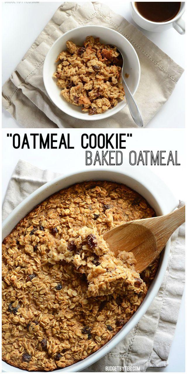 """Oatmeal Cookie"" Baked Oatmeal collage - BudgetBytes.com"