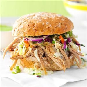 Sesame Pulled Pork Sandwiches Recipe -I wanted to build a better pork sandwich, and this Asian-style filling was a huge hit with my husband and co-workers. Bring on the wasabi mayo. —Jennifer Berry, Lexington, Ohio